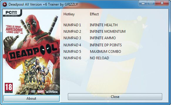 Deadpool (All Versions) +6 Trainer [GRiZZLY]