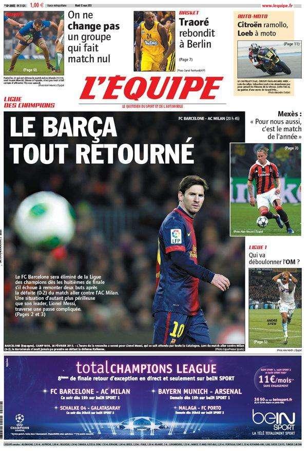 L'Equipe Mardi 12 mars 2013