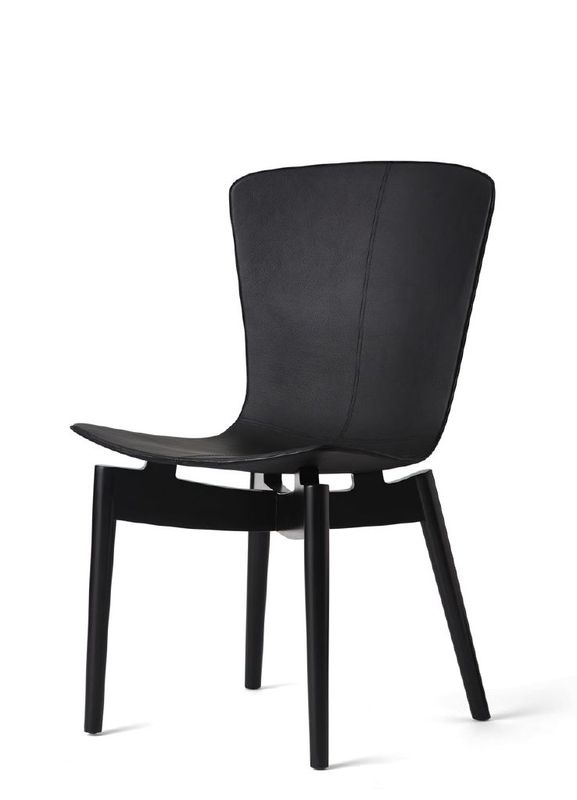 Sedia IN Cuoio Mater 02103 Shell Dining Chair Black Beech Black Leather Chair